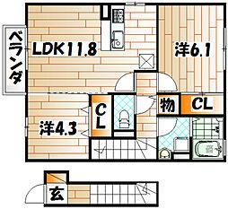 サニーヒルズ迫田[2階]の間取り