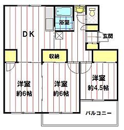 JK-6宮沖[104号室]の間取り
