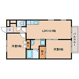 奈良県奈良市疋田町2丁目の賃貸アパートの間取り