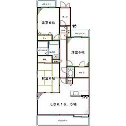 JR南武線 矢川駅 徒歩5分の賃貸マンション 2階3LDKの間取り