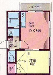 神奈川県横浜市金沢区富岡西2丁目の賃貸アパートの間取り