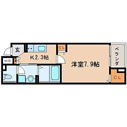 JR東海道本線 東静岡駅 徒歩4分の賃貸マンション 1階1Kの間取り