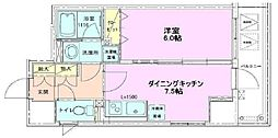 東京メトロ日比谷線 八丁堀駅 徒歩6分の賃貸マンション 2階1DKの間取り