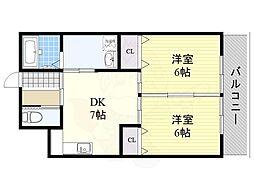 Osaka Metro南港ポートタウン線 平林駅 徒歩2分の賃貸マンション 5階2DKの間取り