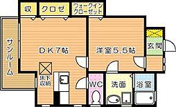 サンウッドヒカリ[1階]の間取り