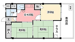 甲子園第七コーポラス[1階]の間取り