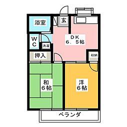 サンテラス篠田 1階2DKの間取り