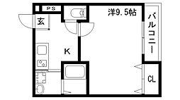 フジパレス神戸大倉山 2階1Kの間取り