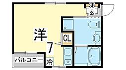 兵庫県神戸市須磨区衣掛町3丁目の賃貸アパートの間取り