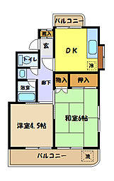 埼玉県さいたま市中央区鈴谷3丁目の賃貸マンションの間取り