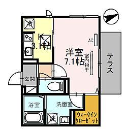 (仮称)D-room一乗寺高槻町 1階1Kの間取り