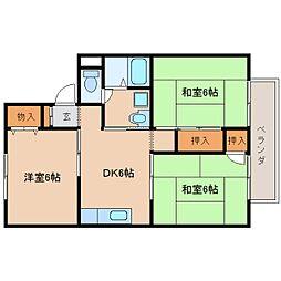 奈良県生駒市桜ケ丘の賃貸アパートの間取り