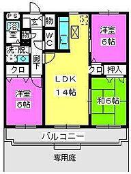 プラムハイツIII[1階]の間取り