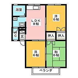 セジュール赤代[2階]の間取り