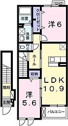 兵庫県姫路市余部区上余部の賃貸アパートの間取り