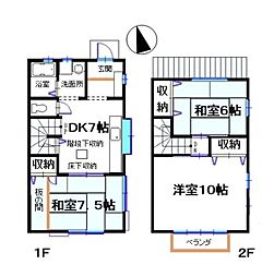[テラスハウス] 神奈川県藤沢市鵠沼神明5丁目 の賃貸【/】の間取り