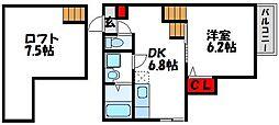 JR鹿児島本線 東郷駅 徒歩27分の賃貸アパート 2階1DKの間取り