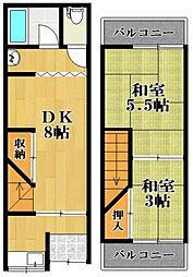 [テラスハウス] 大阪府松原市新堂2丁目 の賃貸【/】の間取り