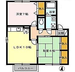広島県東広島市西条末広町の賃貸アパートの間取り