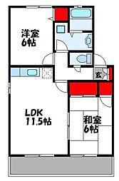 ハイカムールミナト 2階2LDKの間取り
