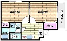 兵庫県神戸市灘区将軍通3丁目の賃貸マンションの間取り