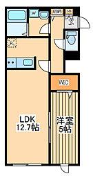 京王線 東府中駅 徒歩3分の賃貸アパート 2階1LDKの間取り