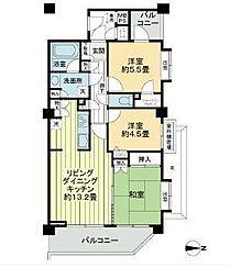 ライオンズガーデン笹塚 閑静な住宅街、振り分けタイプの3LD[2階]の間取り