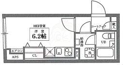 COCOCUBE井草 1階ワンルームの間取り
