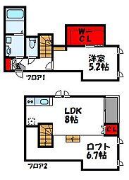 福岡県福津市花見の里2丁目の賃貸アパートの間取り