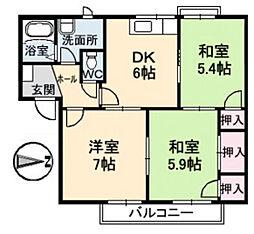 フレグランス塚本 A棟[1階]の間取り