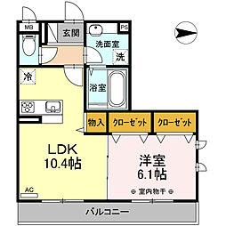 D-room高砂 3階1LDKの間取り