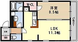 ARTISTA御所西ドゥーエ(アルティスタ御所西ドゥーエ) 4階1LDKの間取り