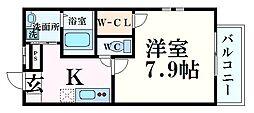 阪急神戸本線 西宮北口駅 徒歩9分の賃貸アパート 2階1Kの間取り