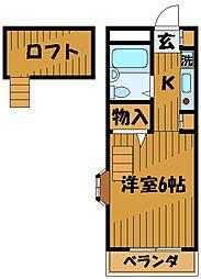 東京都国分寺市東元町の賃貸アパートの間取り