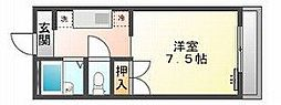 岡山県岡山市北区田中の賃貸マンションの間取り