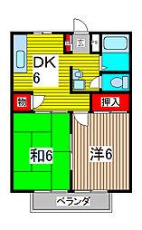 ベルシェ松井[1階]の間取り