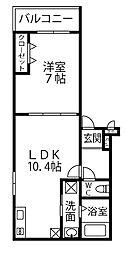 南海高野線 北野田駅 徒歩15分の賃貸アパート 3階1LDKの間取り