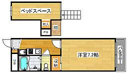 Osaka Metro四つ橋線 住之江公園駅 徒歩9分の賃貸マンション 2階1Kの間取り