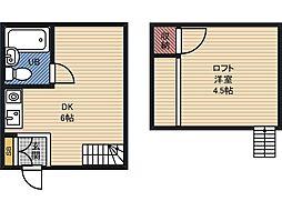 上堀ハイツ 1階ワンルームの間取り