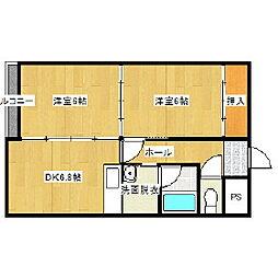 北海道登別市鷲別町5丁目の賃貸マンションの間取り