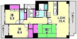 兵庫県神戸市中央区磯上通2丁目の賃貸マンションの間取り