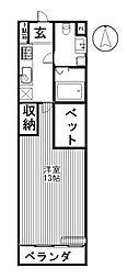 コクーン10駒形II[302号室号室]の間取り