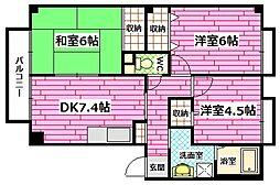 広島県広島市安佐南区伴東2丁目の賃貸アパートの間取り