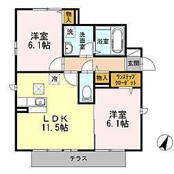 フローラルコートA棟[1階]の間取り