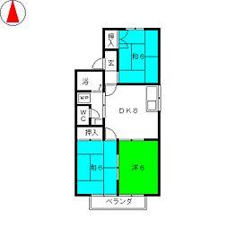 サングリーンハート藤A棟[2階]の間取り