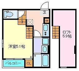 仙台市営南北線 黒松駅 徒歩5分の賃貸アパート 1階1Kの間取り