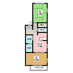 M'Sアパートメント A棟[1階]の間取り