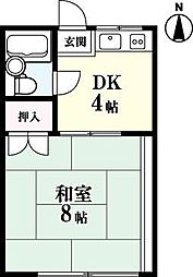 コーポ栄光[2-B号室]の間取り