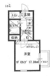 オクト大倉山[102号室]の間取り