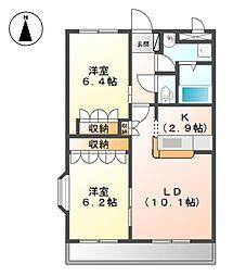 グラッチェII番館[2階]の間取り